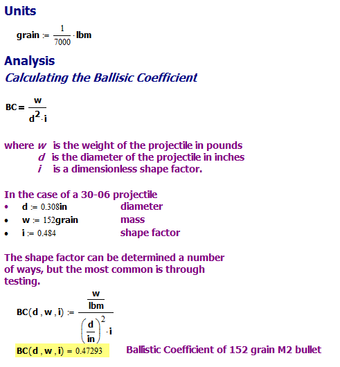 Ballistic Coefficient Calculation