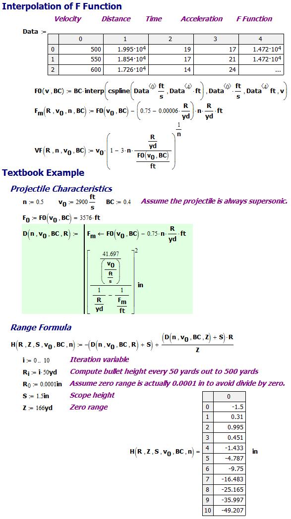 Pejsa Bullet Height Versus Distance Formula For A Zeroed
